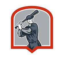 Baseball Batter Batting Woodcut Shield by patrimonio
