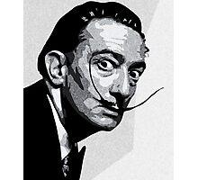 Salvador Dali Black Portrait Photographic Print