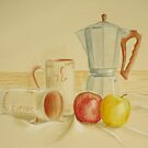 Still life with coffee cups and apples by Solotry
