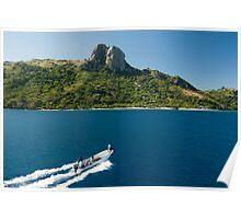 Boat with tourists approaching Waya island Poster