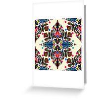 Bright Folk Art Pattern - hot pink, orange, blue & green Greeting Card