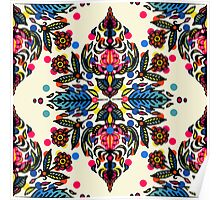 Bright Folk Art Pattern - hot pink, orange, blue & green Poster