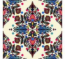 Bright Folk Art Pattern - hot pink, orange, blue & green Photographic Print