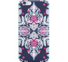 Pastel Folk Art Pattern in soft navy, pink, mauve & white iPhone Case/Skin