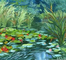Pink Water Lilies oil Painting by Ekaterina Chernova by Ekaterina Chernova