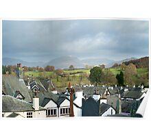 Panoramic view of Hawkshead in Cumbria Poster