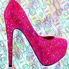 Pink Sparkle Bubble Gum Heels by Arts4U