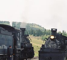 Cumbres-Toltec Narrow Gauge Railroad and Locomotive, Chama, New Mexico   by lenspiro