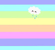 Kawaii Cloud Pastel Rainbow Stripes  by ArtVixen