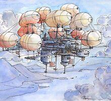 La citta' mongolfiera by Luca Massone  disegni