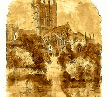 A digital painting of Wells Cathedral from the Bishop's garden by Dennis Melling