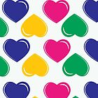 pattern with colorful hearts on white background by elgreko