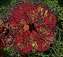 Artistic red woodcut hibiscus flower by artisticattitud