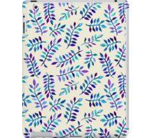 Hand Painted Purple & Aqua Leaf Pattern on Cream iPad Case/Skin