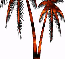 Orange Sunset Palm Trees by smentcreations