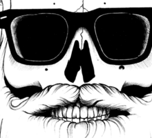 Ray's bearded skull Sticker