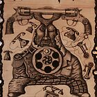 Communication ink pen drawing on wood by Vitaliy Gonikman