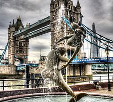 Tower Bridge and the Girl and Dolphin Statue by DavidHornchurch