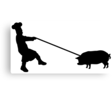 Chef and pig Canvas Print