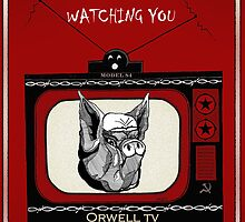 Big Brother Pig Brother is Watching You Orwell TV by Marcia  Connell-Smith