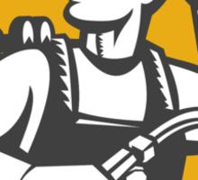 Welder Holding Welding Torch Woodcut Retro Sticker