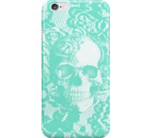 Mint lace skull iPhone Case/Skin