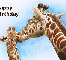Giraffe & Calf Birthday Card by Lorna Mulligan