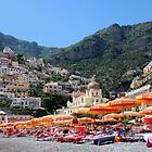 Colorful Beach Umbrellas Positano by hummingbirds