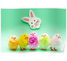 Easter Chicks and Rabbit Poster