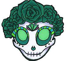 Aqua Rose Crown Skull by stuffnotthings