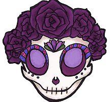Purple Rose Crown Skull by stuffnotthings