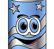 Blue Soda Can Cartoon by Graphxpro
