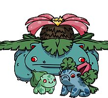 bulbasaur, ivysaur and VENUSAUR~!. by sementroll