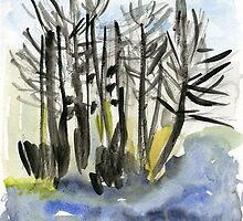 Trees at the lake by Gabriele Maurus