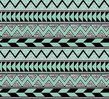 Mint Black White Tribal Style Pattern by cikedo