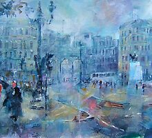 Trafalgar Square London on a Rainy Day by Ballet Dance-Artist