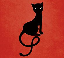 Red Gracious Evil Black Cat by Boriana Giormova