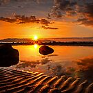 Sand Ripple Sunset Reflections Near Seamill by George Crawford