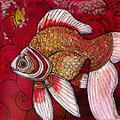 Goldfish on Red by Lynnette Shelley