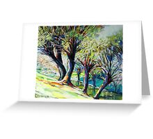 Willows on the river bank Greeting Card