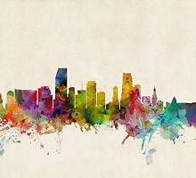 Miami Florida Skyline Cityscape by Michael Tompsett