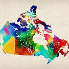 Canada Rolled Paint Map by Michael Tompsett