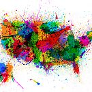 United States Paint Splashes Map by Michael Tompsett