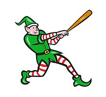 Elf Baseball Player Batting Isolated Cartoon by patrimonio