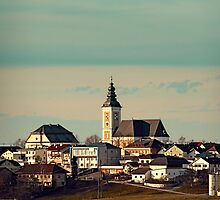 Small village skyline with mint sky | landscape photography by Patrick Jobst