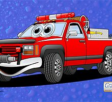 Pick Up Fire Truck Water Background Cartoon  by Graphxpro