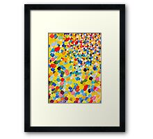 SWEPT AWAY 2 - Vibrant Colorful Rainbow Mango Yellow Waves Mermaid Splash Abstract Acrylic Painting Framed Print