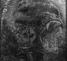 Psychedelic Gorilla illusion poster (Black) by FreemanDan-com