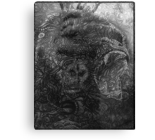 Psychedelic Gorilla illusion poster (Black) Canvas Print