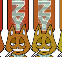 Bottles Cats Red/Orange Sticker